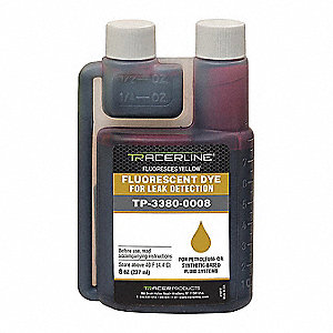 LEAK DETECTION DYE,YELLOW,8 OZ.